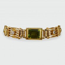 SOLD Edwardian Gate Bracelet set with Peridots and Diamonds in 15ct Gold