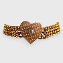Victorian Bracelet featuring an Engraved Love Heart Panel set with a single Diamond set in 9ct Gold