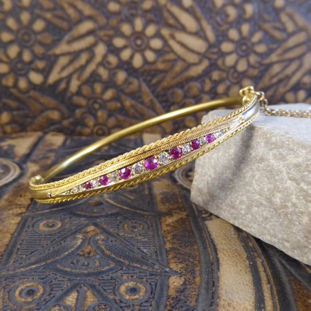 SOLD Antique Edwardian Ruby and Diamond Bangle modeled in 15ct Gold