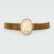 SOLD Antique Edwardian Adjustable Cameo Bracelet in Two Tone Gold