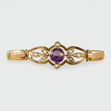 SOLD Edwardian Amethyst and Pearl 9ct Gold Flexible Bracelet