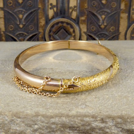 SOLD Antique Victorian 9ct Yellow and Rose Gold Buckle Bangle