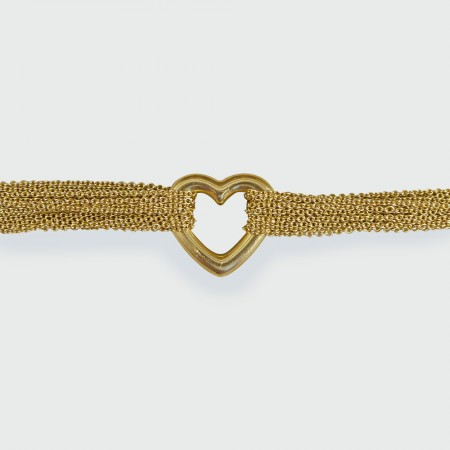 Tiffany and Co 18ct Yellow Gold Love Heart Strand Toggle Bracelet