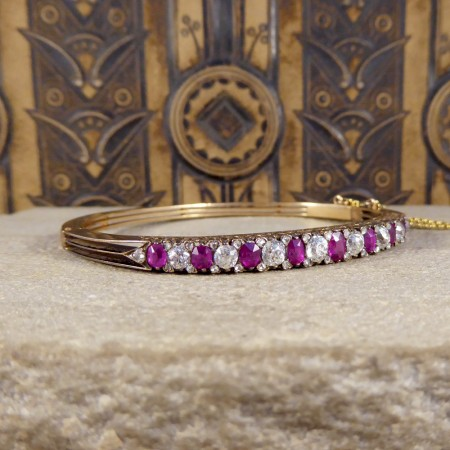 SOLD Ruby and Diamond Late Victorian Bangle in 14ct Yellow Gold