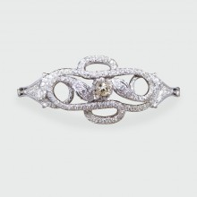 Contemporary Diamond set Double Snake Bracelet with Lemon Tinted Diamond Centre in 14ct White Gold