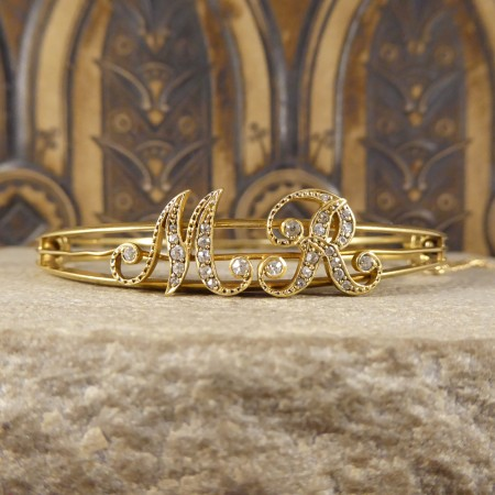 SOLD Antique Late Victorian Diamond Set Initialled MR Bangle in 18ct Yellow Gold