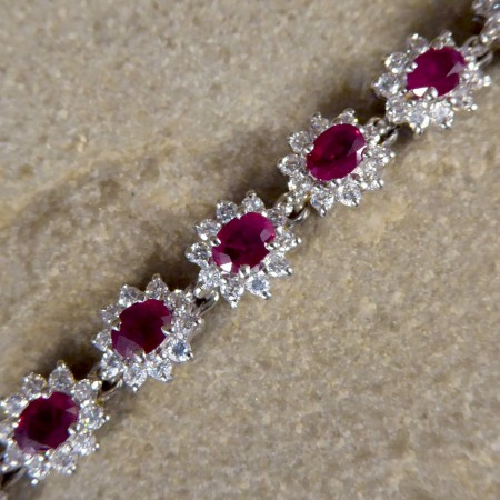 Contemporary Ruby and Diamond Cluster Bracelet in 18ct White Gold