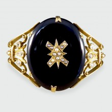 SOLD Antique Late Victorian Onyx, Pearl and Diamond Bangle in 15ct Yellow Gold