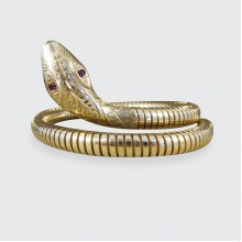 SOLD Vintage Flexible Snake Bangle Bracelet in 9ct Yellow Gold with Ruby set Eyes