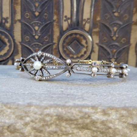 Late Victorian Diamond and Pearl Panel Bracelet in 15ct Yellow Gold and Silver