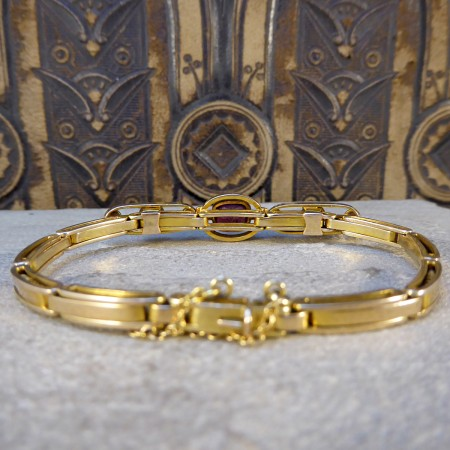 Edwardian Garnet and Pearl Panel Expandable Bracelet in 9ct Yellow Gold