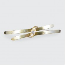 Late Victorian Diamond and Seed Pearl Bangle in 15ct Yellow Gold