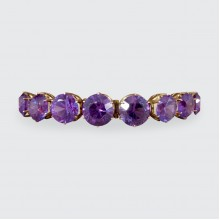Edwardian Synthetic Alexandrite Link Bracelet in 9ct Rose Gold