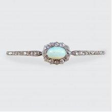 Late Victorian Opal and Diamond Cluster Bangle in 14ct Yellow Gold and Silver