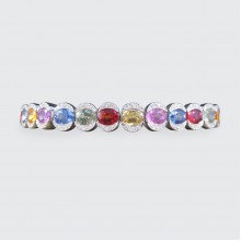 SOLD Multi-Coloured Sapphire and Diamond Waskoll Bracelet in 18ct White Gold