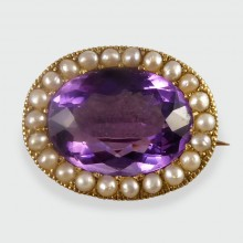 SOLD Victorian Amethyst Brooch with a Seed Pearl Surround set in 15ct Gold