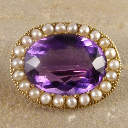 Victorian Amethyst Brooch With A Seed Pearl Surround Set