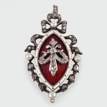 SOLD Victorian Blood Red and White Enamel Pendant with a Pearl and Diamond ribbon surround set in Gold and Silver