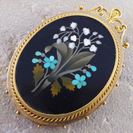 SOLD Pietra Dura Pendant Brooch with Locket Glass Back