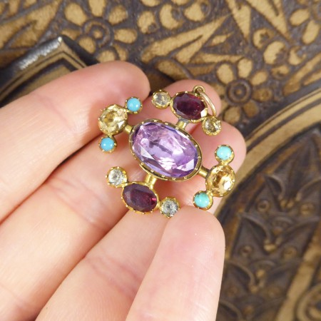 Early Victorian Multi Gemstone Brooch Pendant with Amethyst Centre in 15ct Yellow Gold