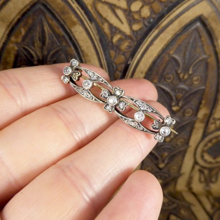 Antique Victorian 0.65ct Diamond Total Brooch Gold Back Silver Front