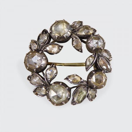 Late Georgian Rose Cut Diamond Wreath Shaped Brooch Gold Backed Silver Fronted
