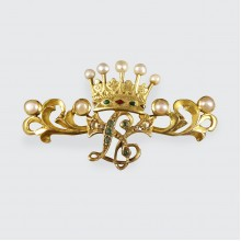 SOLD Antique Victorian Gem Set Initialled Crown Brooch in 15ct Yellow Gold