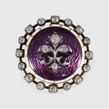 Quality Antique Purple Enamel Mourning Brooch Mounted in Gold and Silver in Antique Box