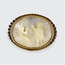 Antique Carved Detailing Mother of Pearl Brooch in Gold and Silver