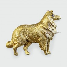 Late Victorian Diamond 15ct Gold Dog Brooch