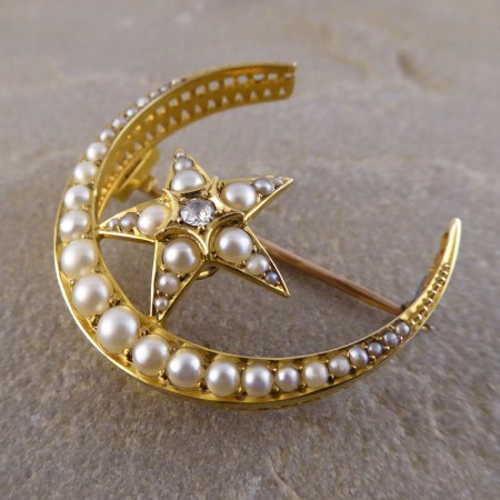 SOLD Late Victorian Seed Pearl and Diamond Star Crescent Brooch in 15ct Gold