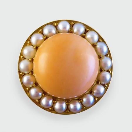 SOLD Late Victorian Coral and Pearl Circular Brooch modeled in 15ct Gold