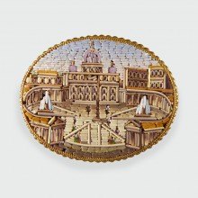 SOLD Late Victorian St Peters Square, Vatican City Micro Mosaic Gold Brooch