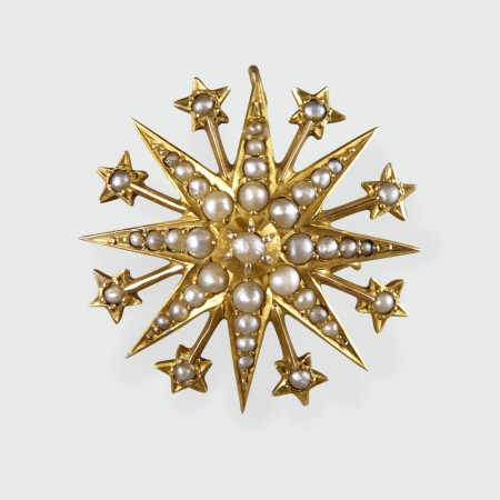 Antique Edwardian Star Seed Pearl Brooch Pendant In 9ct Gold