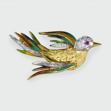 SOLD Vintage Diamond, Ruby and Enamel Bird Brooch set in 18ct Gold