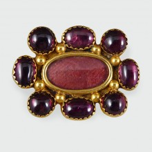 SOLD Antique Victorian Cabachon Garnet Locket Brooch in 15ct Gold