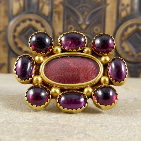 Antique Victorian Cabachon Garnet Locket Brooch in 15ct Gold