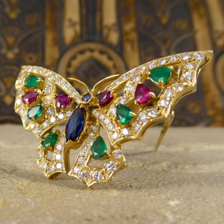 Contemporary Diamond, Emerald, Ruby and Sapphire Butterfly Brooch in 18ct Gold