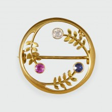 SOLD Ruby, Diamond and Sapphire gem set Circular Edwardian Brooch in 15ct Gold
