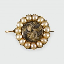 Georgian Mourning Pearls and Woven Hair Brooch and Pendant in 9ct Gold