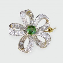 Late Victorian Green Garnet and Diamond Flower Brooch and Pendant