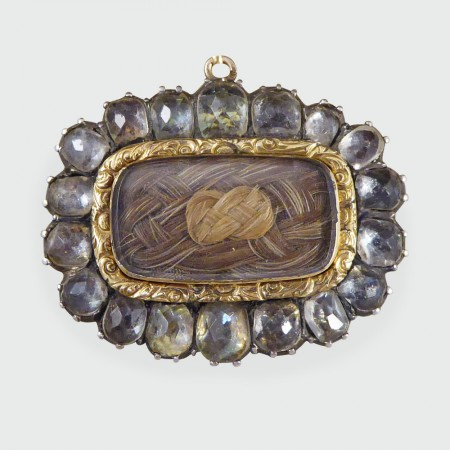Antique Georgian Mourning Brooch with Woven Hair and Rose Cut Paste