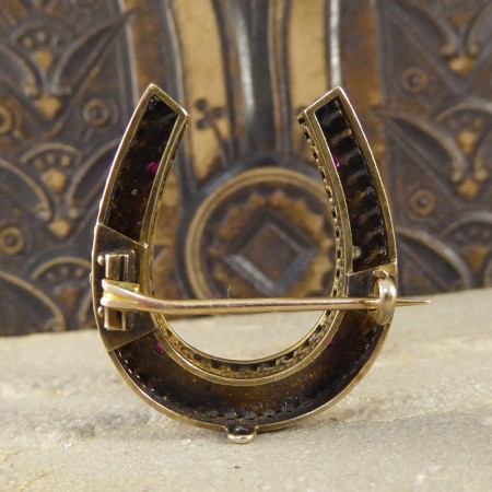 SOLD Late Victorian Diamond, Ruby and Pearl Horseshoe Brooch in 15ct Gold