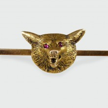 SOLD Edwardian Fox Head Pin Brooch in 15ct Gold with Cabochon Ruby Eyes