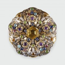 SOLD Arts and Crafts Large Multi Gem Set Brooch in both Silver and Gold