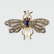 SOLD Antique Late Victorian Sapphire, Ruby and Diamond set Bug Brooch in Silver and Gold