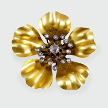 SOLD French Late Victorian 18ct Gold and Silver Quality Diamond set Flower Brooch
