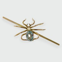 Antique Edwardian Aquamarine and Pearl Spider Brooch