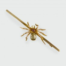Edwardian Green and Pink Tourmaline Spider Brooch Pin