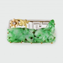 Late Victorian Carved Jade Stone Brooch set with Diamonds in 18ct Tri Gold